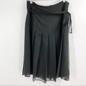 LK Bennett black pleated a-line chiffon skirt 8